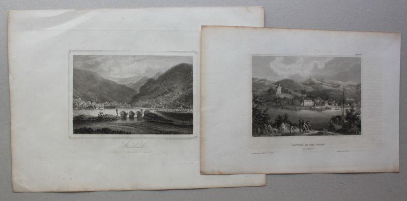 Konvolut 2 Stahlstiche von Steinbrück & Battina um 1850 Landaschaft sf