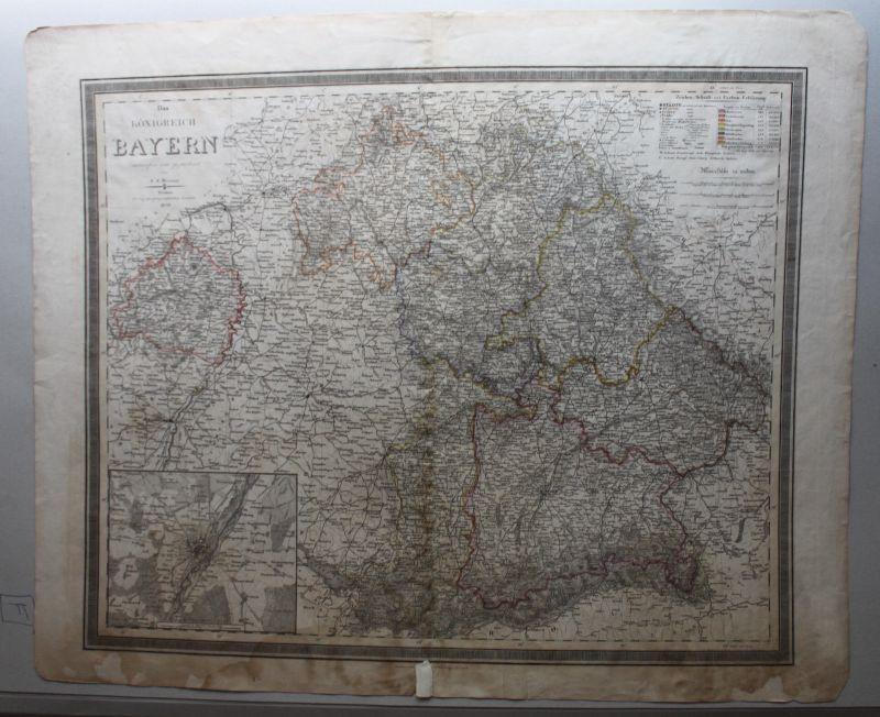 Stahlstichkarte Das Königreich Bayern 1839 Landkarte Geografie Landeskunde sf