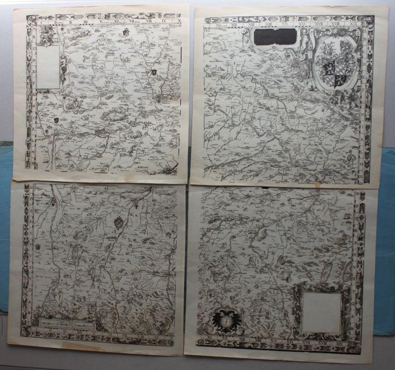 Lichtdruck Übersichts-Karte von Bayern in 4 Segmenten um 1890 Landkarte sf