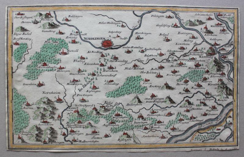 Kolorierte Kupferstichkarte Gegend um Nordlingen um 1730 Landkarte sf