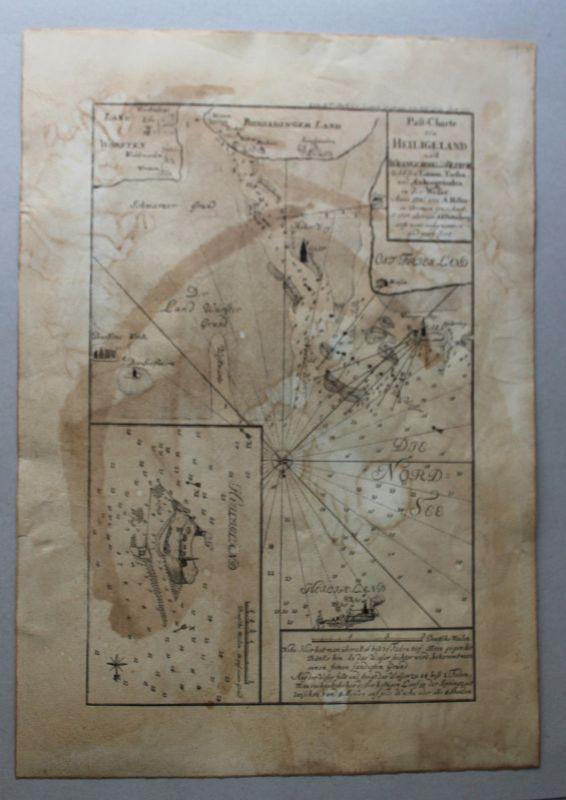 Kupferstichkarte Pass-Charte von Heiligeland (Helgoland) 1761 Landkarte rara sf