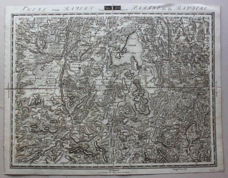 Kupferstichkarte Theil von Bayern Section 168 um 1820 Landkarte Chiemsee sf
