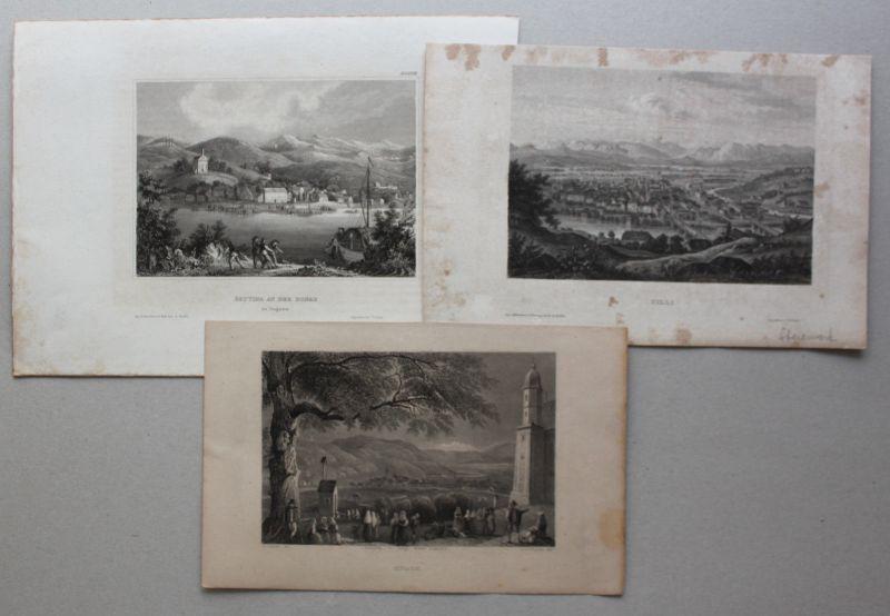 Konvolut 3 Stahlstiche von Cilli & Battina um 1850 Landaschaft Architektur sf