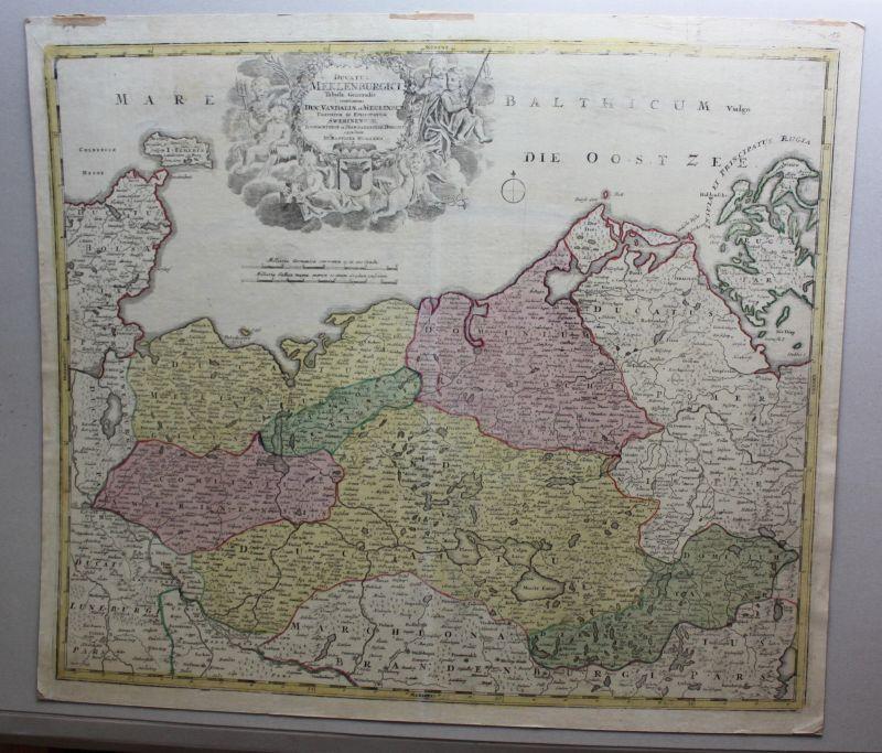 Altkolorierte Kupferstichkarte Mecklenburg Vorpommern um 1750 Landkarte sf