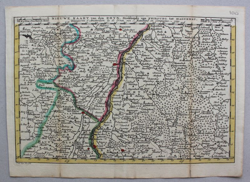 Teilkolorierte Kupferstichkarte von Freiberg bis Hagenau 1735 Landkarte sf