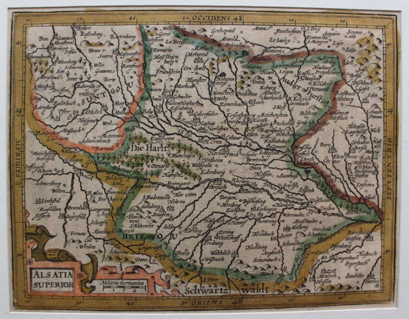 Kolorierte Kupferstichkarte Elsaß- Alsatia Superior 1635 Jodacus Hondius sf 0