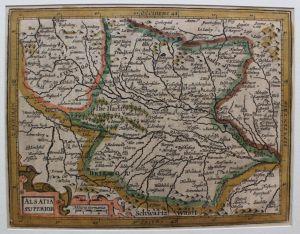 Kolorierte Kupferstichkarte Elsaß- Alsatia Superior 1635 Jodacus Hondius sf