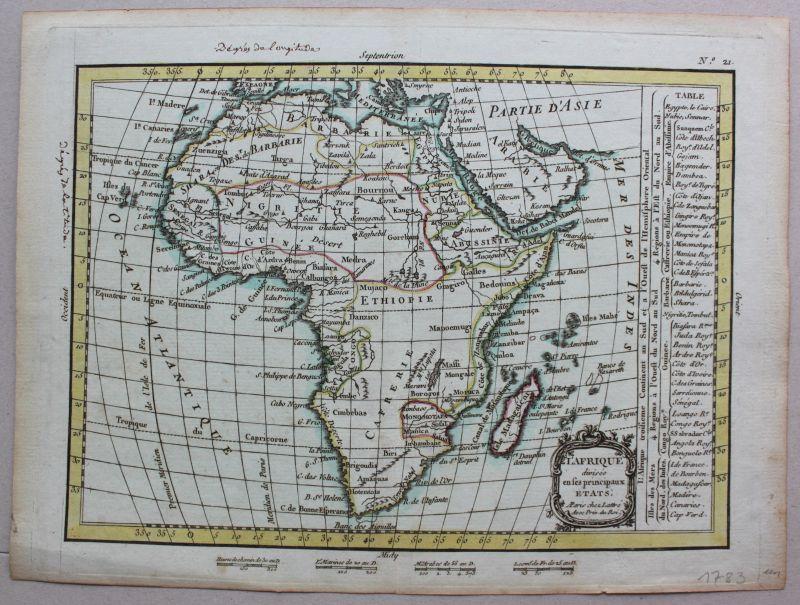 Kolorierte Stahlstich Karte von Afrika