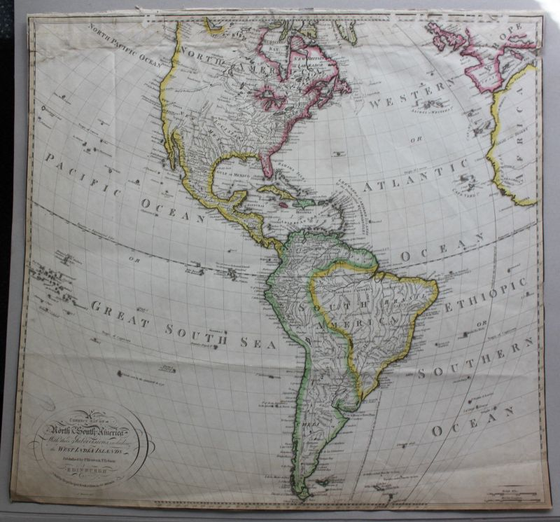 Grenzkolorierte Stahlstichkarte Südamerika & Nordamerika um 1820 Landkarte sf 0