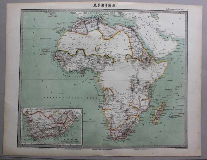 Kolorierte Lithografie Karte von Afrika mit Detailkarte um 1860 Landkarte sf