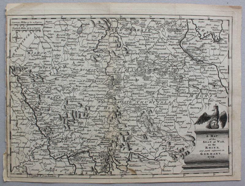 Kupferstichkarte von Mitteldeutschland 1795 Landkarte Geografie Landeskunde sf