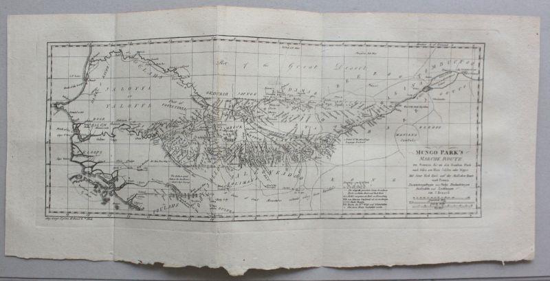 Kupferstichkarte von Senegal, Mali, Guinea um 1770 Landkarte Westafrika sf