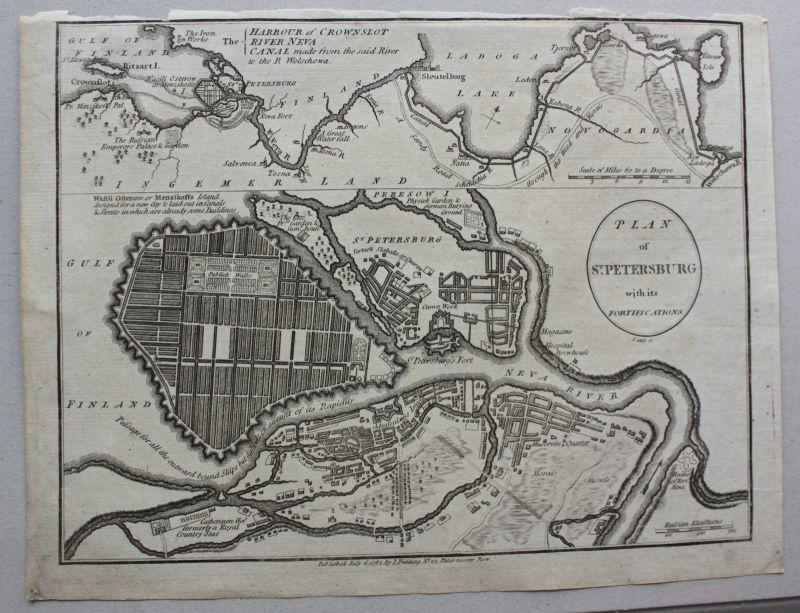 Kupferstich Karte Plan von St. Petersburg um 1782 Landkarte Geografie sf