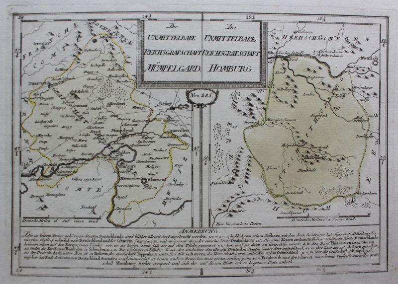 Kupferstichkarte Die unmittelbare Reichsgrafschaft Mümpelgard/Homburg um 1790 sf