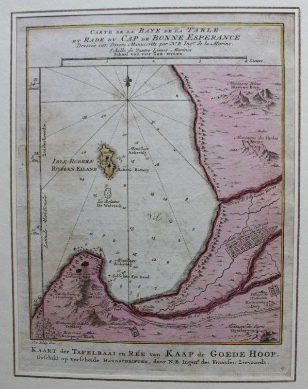 Kolorierte Kupferstichkarte vom Kap der guten Hoffnung um 1780 Landkarte sf 0