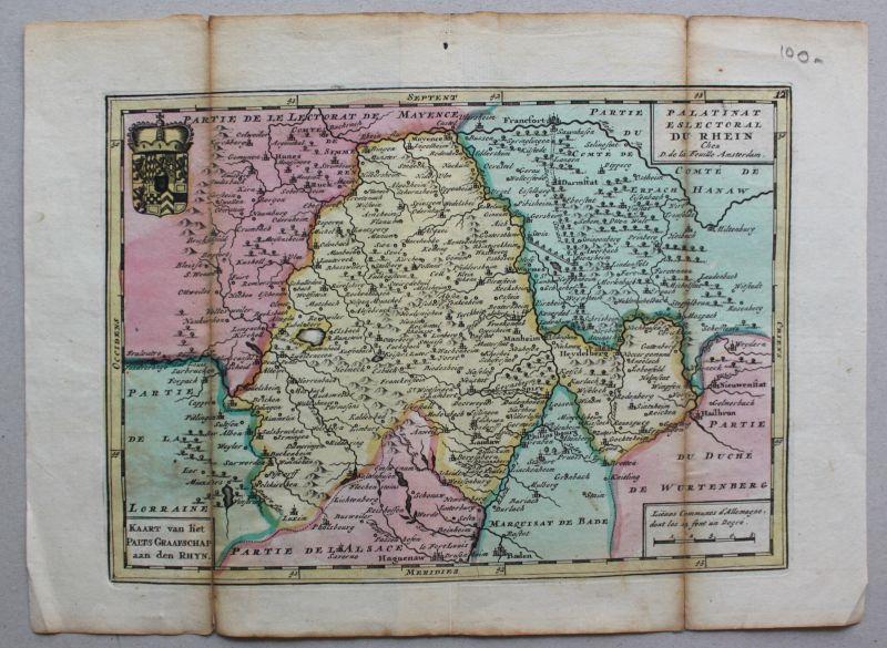Feuille Kupferstichkarte Rheinlande von Baden bis Bingen mittig Worms um 1750 sf