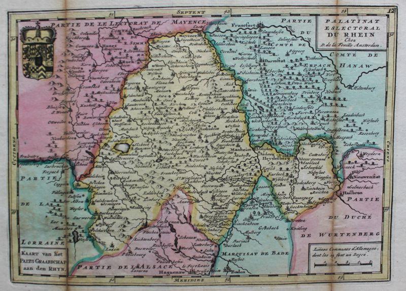 Feuille Kupferstichkarte Rheinlande von Baden bis Bingen mittig Worms um 1750 sf 1