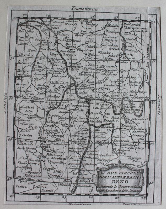 Kupferstichkarte Rheinlande von Baden bis Emmerich mit Gradnetz um 1700 sf