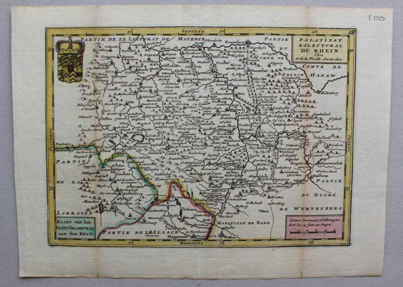 Kupferstichkarte Rheinlande von Baden bis Bingen mittig Worms um 1750 sf 1