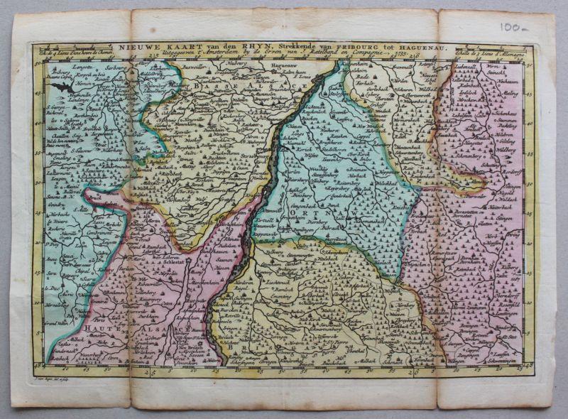 Kolorierte Kupferstichkarte von Freiberg bis Hagenau 1735 Landkarte Geografie sf