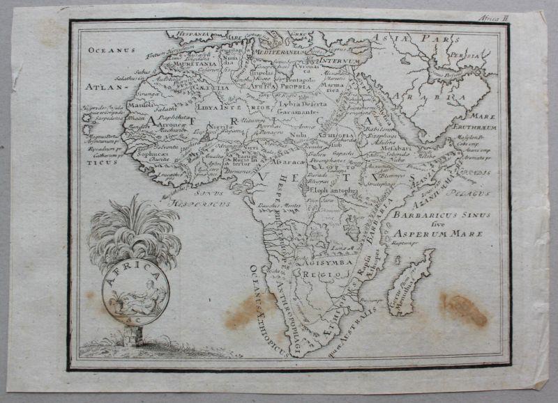 Kleine Kupferstich Karte von Afrika um 1800 Landkarte Geografie Landeskunde sf