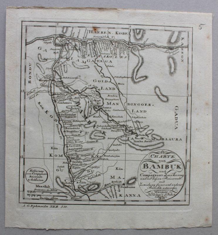 Stahlstich kleine Karte der Region Bambuk im Senegal/Afrika um 1803 Landkarte sf