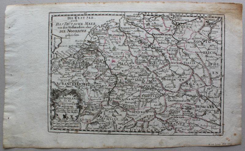 Kupferstichkarte von Mitteleuropa