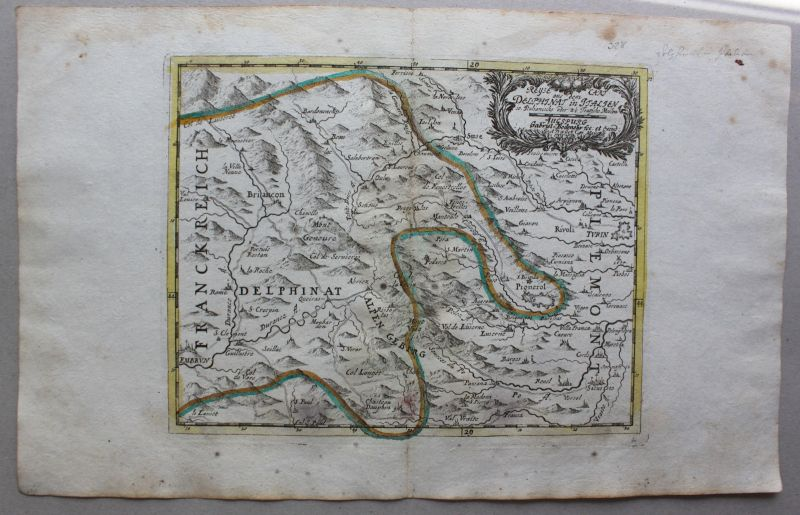 Kupferstichkarte Reyse cart aus dem delphinat inn Italien um 1750 Landkarte sf