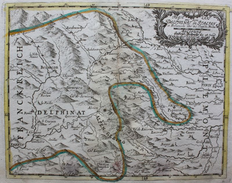 Kupferstichkarte Reyse cart aus dem delphinat inn Italien um 1750 Landkarte sf 1