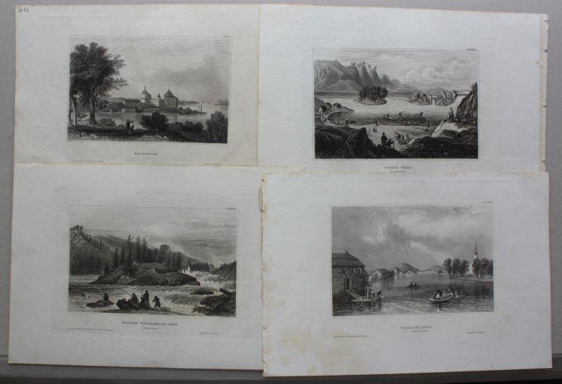 Konvolut von 10 Stahlstichansichten aus Schweden um 1840 Landschaften sf 0