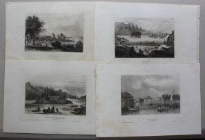 Konvolut von 10 Stahlstichansichten aus Schweden um 1840 Landschaften sf