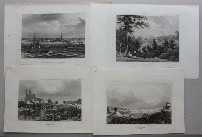 Konvolut von 10 Stahlstichansichten aus Schweden um 1840 Landschaften sf 1