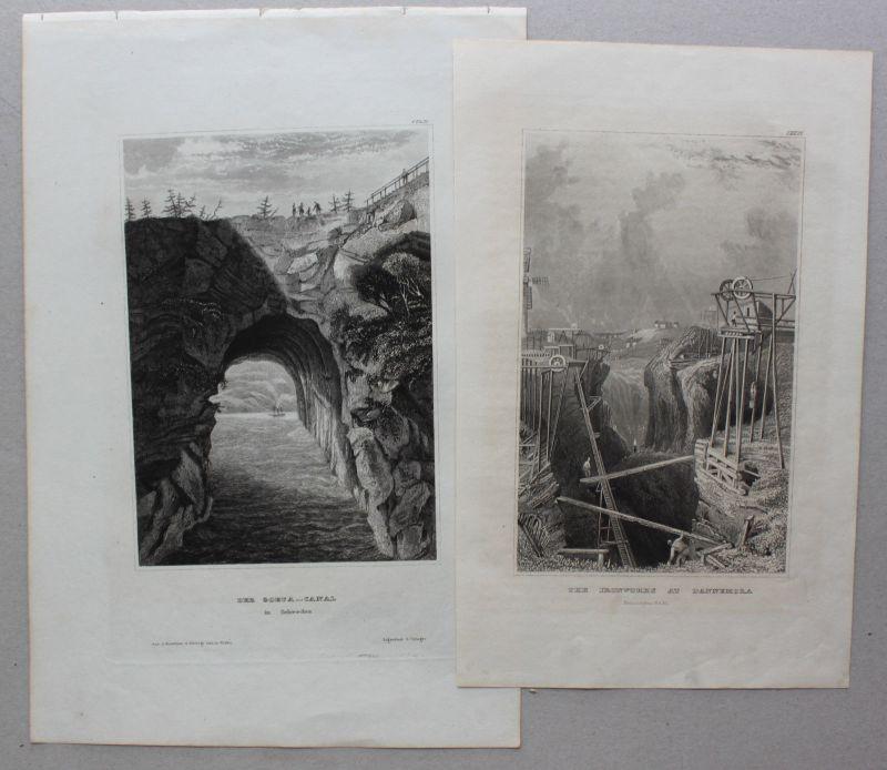 Konvolut von 10 Stahlstichansichten aus Schweden um 1840 Landschaften sf 2