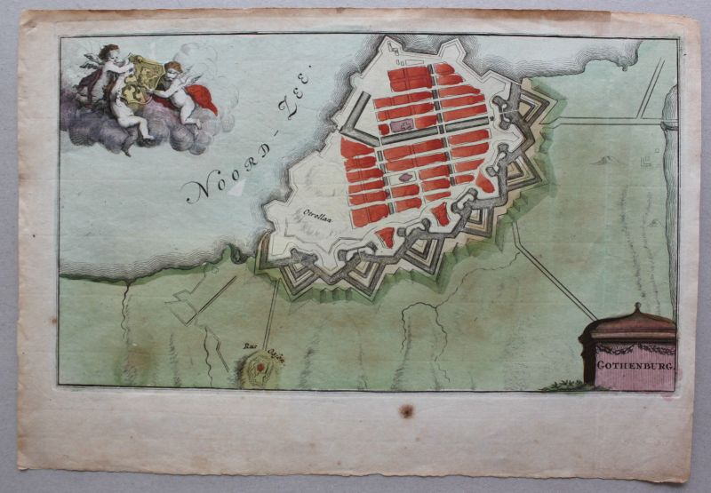 Kolorierter Plan & Stahlstichansicht Gothenburg um 1650 & 1830 Schweden sf 1