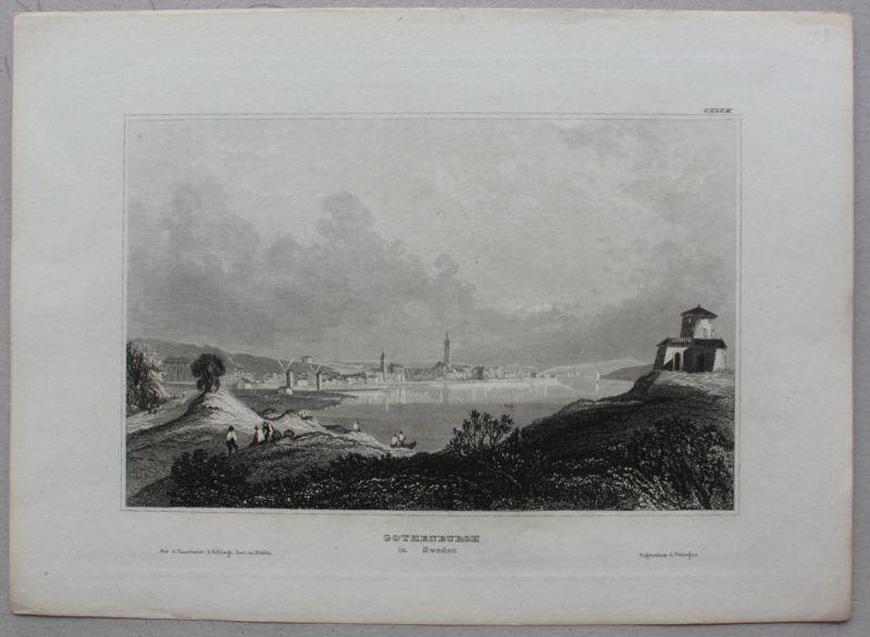 Kolorierter Plan & Stahlstichansicht Gothenburg um 1650 & 1830 Schweden sf 2