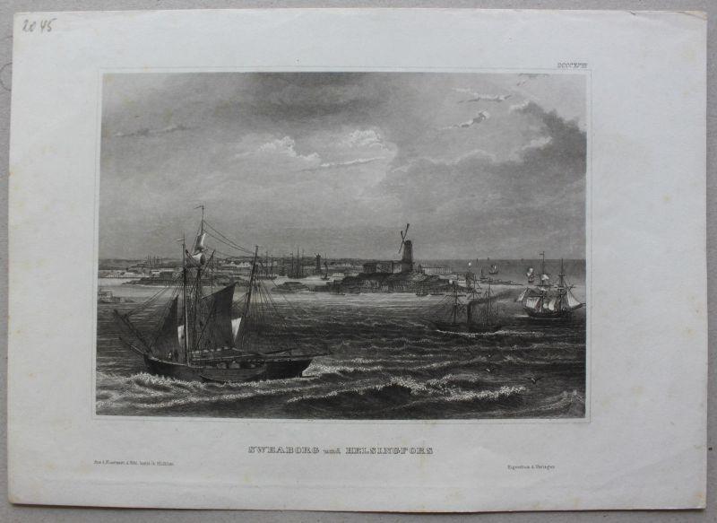 Konvolut von 5 Stahlstichansichten aus Schweden um 1840 Landschaften sf 1