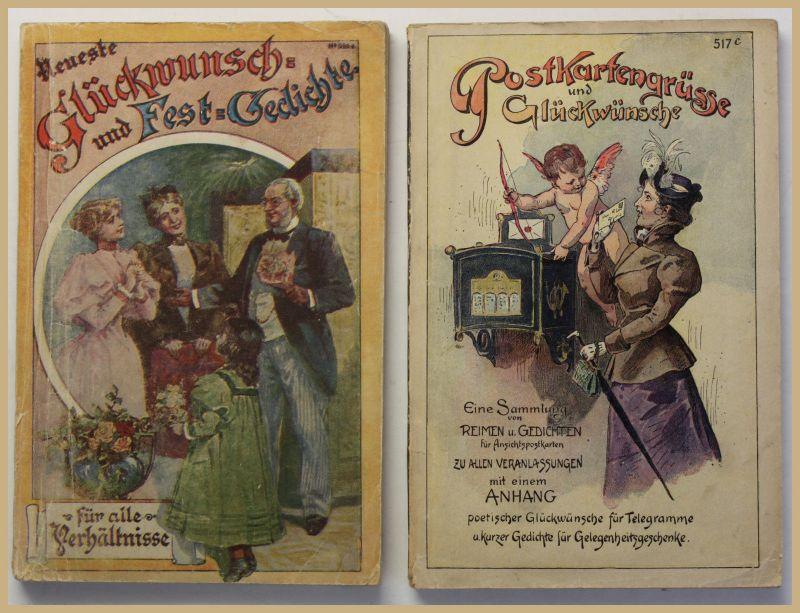 Postkartengrüsse und Glückwünsche 2 Hefte um 1910 Reime Gedichten Sammlung sf 0