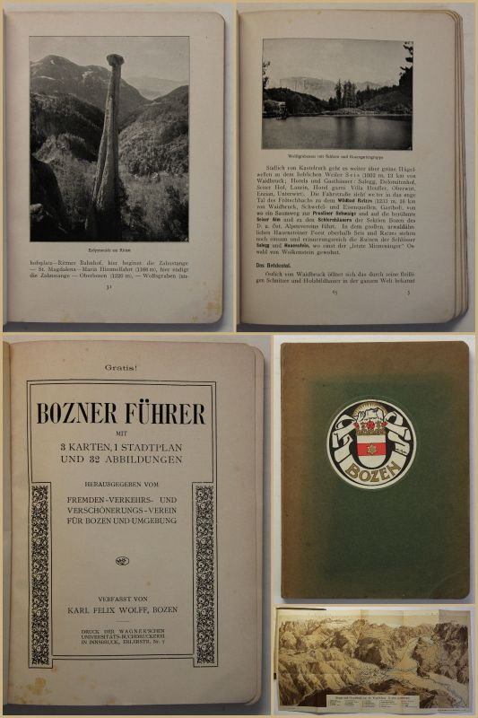 Wolff Bozner Führer um 1930 Südtirol Ortskunde Landeskunde Geografie Reise sf 0