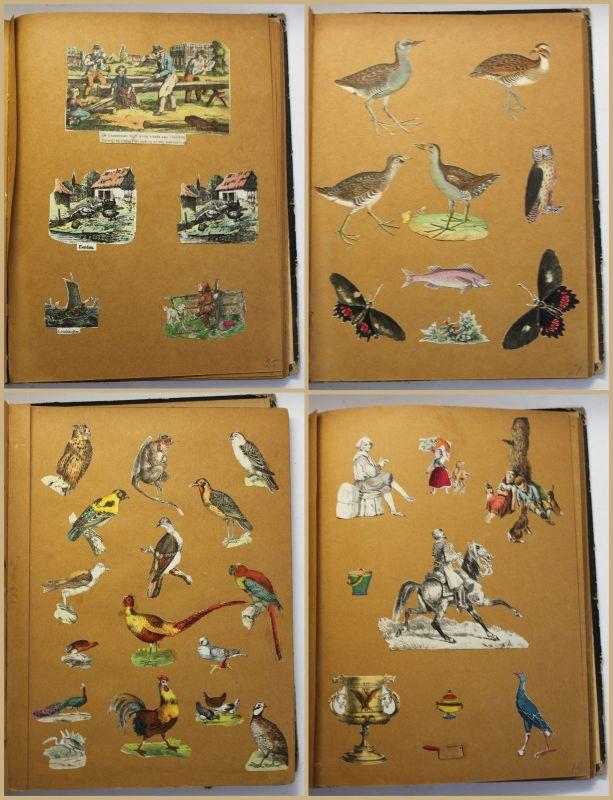 Scrap Book Sammelbuch Sammelalbum Scrapbook Einklebebuch um 1840 koloriert sf 1