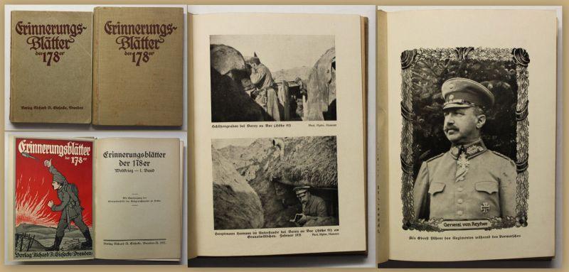 Erinnerungsblätter der 178er 2 Bde 1917 Weltkrieg Geschichte Militär Politik sf