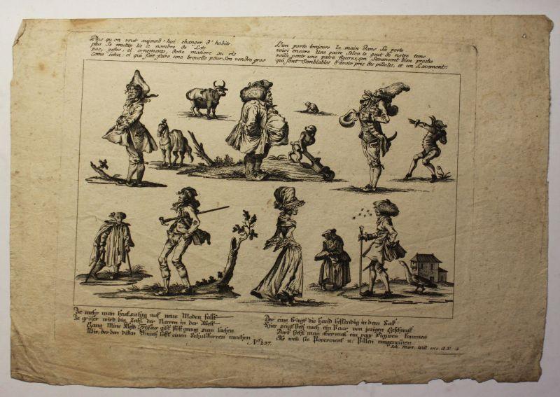 Kupferstichkarte von Johann Martin Will um 1780 Karikatur selten Künstler sf