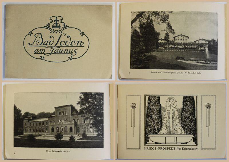 Original Prospekt Broschüre Bad Soden am Taunus Hessen Kurort Kurhaus um 1915 xz