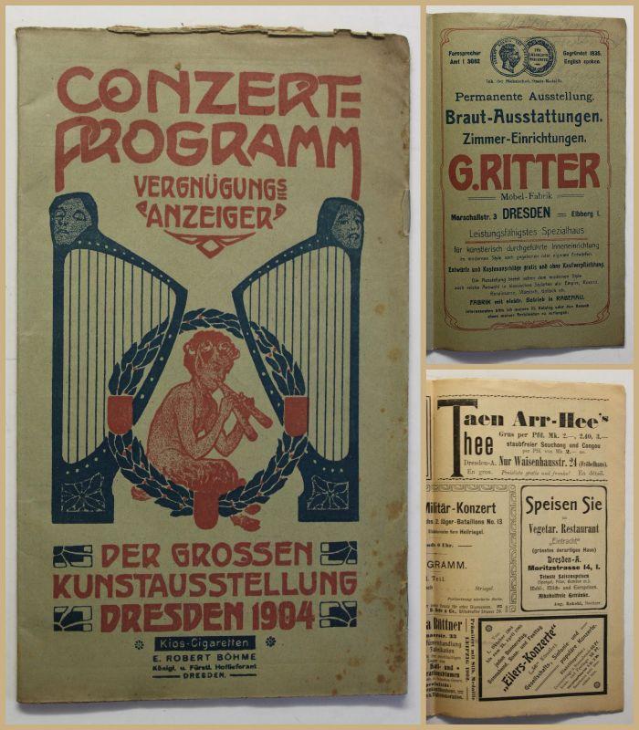 Original Prospekt Conzert-Programm Der großen Kunstaustellung Dresden 1904 sf