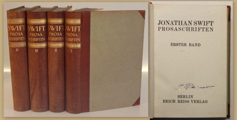Jonathan Swift Prosaschriften 4 Bde um 1920 Belletristik Literatur Schriften sf