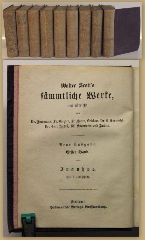 Walter Scott's Sämmtliche Werke Bd 1-9 von 25 um 1860 Belletristik Literatur sf