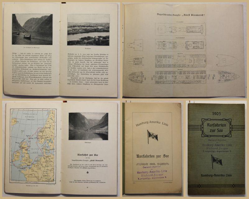 Original Prospekt Kurfahrten zur See Hamburg-Amerika Linie 1905 Reise sf
