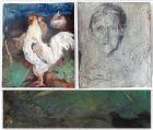 Josef Hegenbarth - Gemälde Leim o. Kleistertechnik Hahn und Hühner 1942 Kunst gb