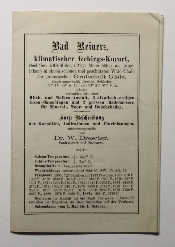 Original Prospekt Bad Reinerz Kurort Glatz Schlesien um 1885 Duszniki-Zdrój xz