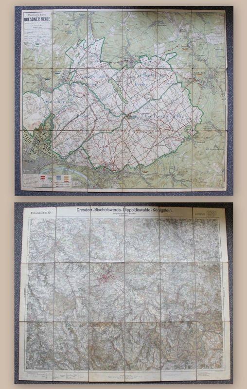 2 alte Landkarten Dresden und Umgebung 1925 & Dresdner Heide Um 1920 Sachsen xz