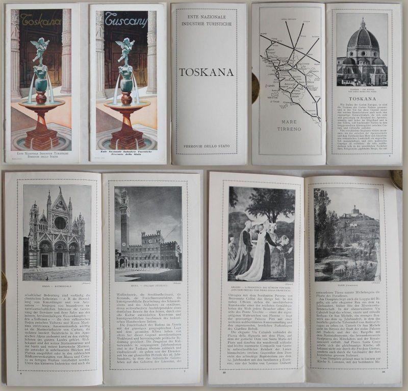 2 Prospekt (dt. & engl.): Toskana (um 1935) - Reiseführer Landeskunde Italien xz